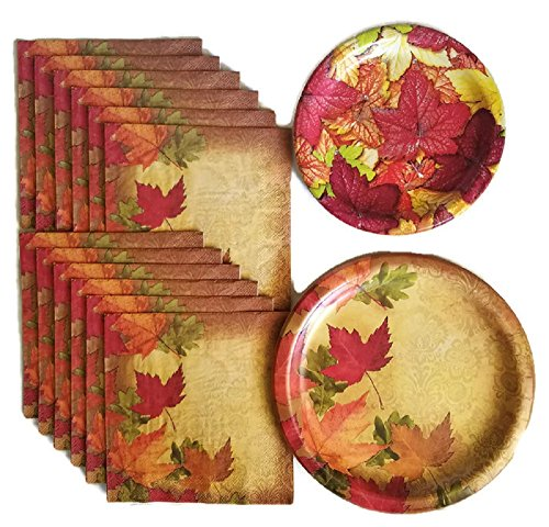 Thanksgiving Fall Harvest Leaves Party Supplies Paper Plate and Napkin Bundle Set of 3 Includes Dinner Plates, Cake Plate and, Luncheon Napkins - Service for 16 -