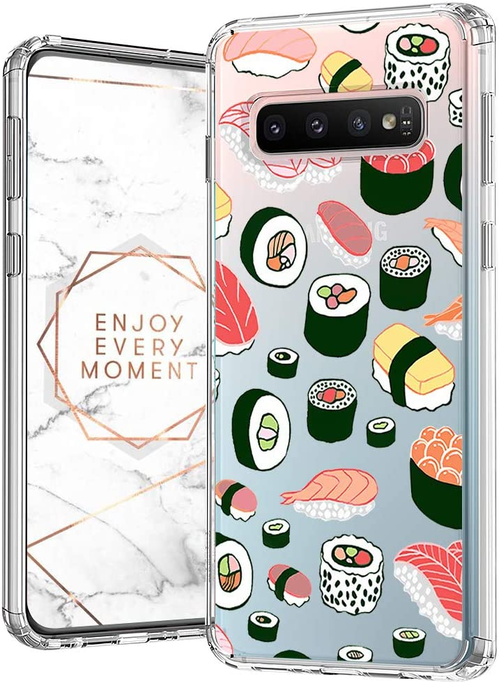MOSNOVO Galaxy S10 Plus Case, Sushi Pattern Clear Design Printed Transparent Plastic Back Phone Case with TPU Bumper Protective Case Cover for Samsung Galaxy S10 Plus
