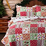 Bedsure Christmas Bedding Quilts Set Decoration Printed Bedspread Full/Queen Size 86x96 Patchwork Coverlet Ideas for Kids Red Green and White Home Decor