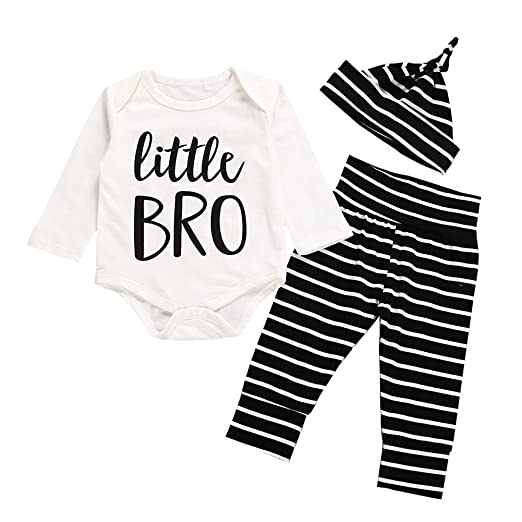 195d0966f Image Unavailable. Image not available for. Color: Yokidi 0-24M Baby Boy  Little Brother Romper + Stripe Trousers + Hat Outfits Newborn