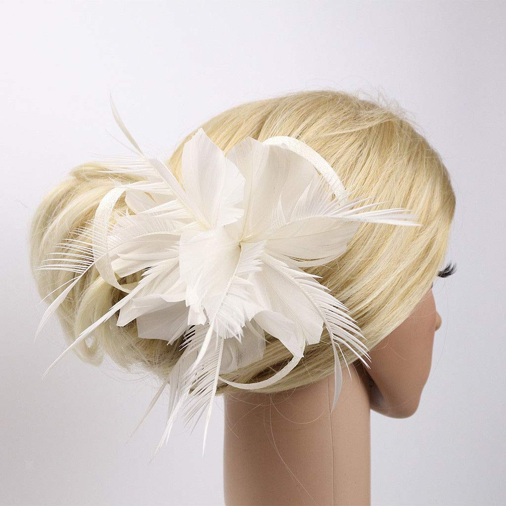Vintage Feather Fascinator 1920s Great Gatsby Hair Clips Brooach Pin White