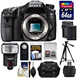 Sony Alpha A77 II Wi-Fi Digital SLR Camera Body with 64GB Card + Battery & Charger + Case + Flash + Tripod + Remote + Kit