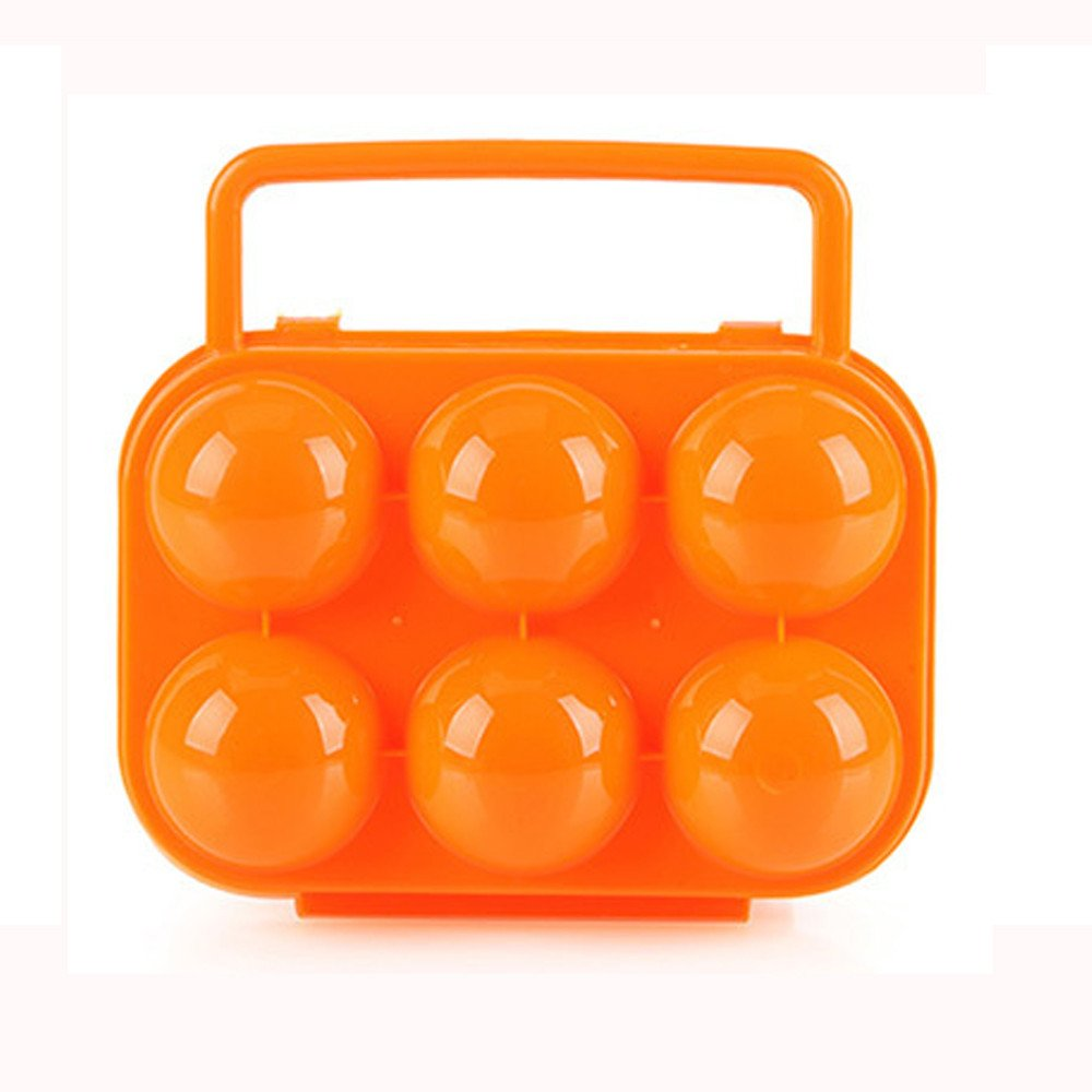 Tuscom Holder Folding 6 Eggs Portable Egg Storage Box Handle Case-6.1x5.9x2.7 inch (Orange)