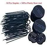 F.O.T Garden Staples, Landscape Pins with Plastic Coated, Garden Stakes 6 inch 11-gauge Rust Resistant Steel Lawn U Pins Pegs with Plastic Gasket for Anchoring Landscaping, Ground Cover, Weed Barrier, Soaker Hose, Lawn Drippers, Irrigation Tubing, Wireless Invisible Dog Fence (50Pcs)