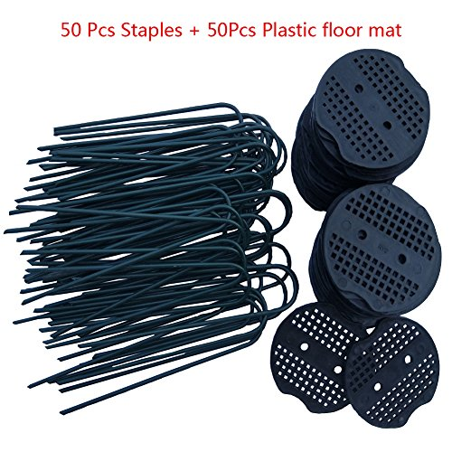 Garden Staples, 50Pcs Landscape Pins + 50Pcs Plastic Coated, Garden Stakes 6 inch 11-gauge Rust Resistant Steel Lawn U Pins Pegs with Plastic Gasket for Anchoring Landscaping, Ground Cover,Weed Barrie