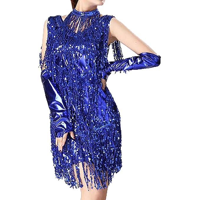 LONMEI Falda De Baile Latino para Mujer - Vestido con Flecos ...