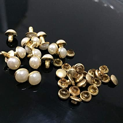 Amazon.com  Kamas 100PCS 7mm Round Gold Acrylic Pearl Rivets Leather ... b5c68070a298
