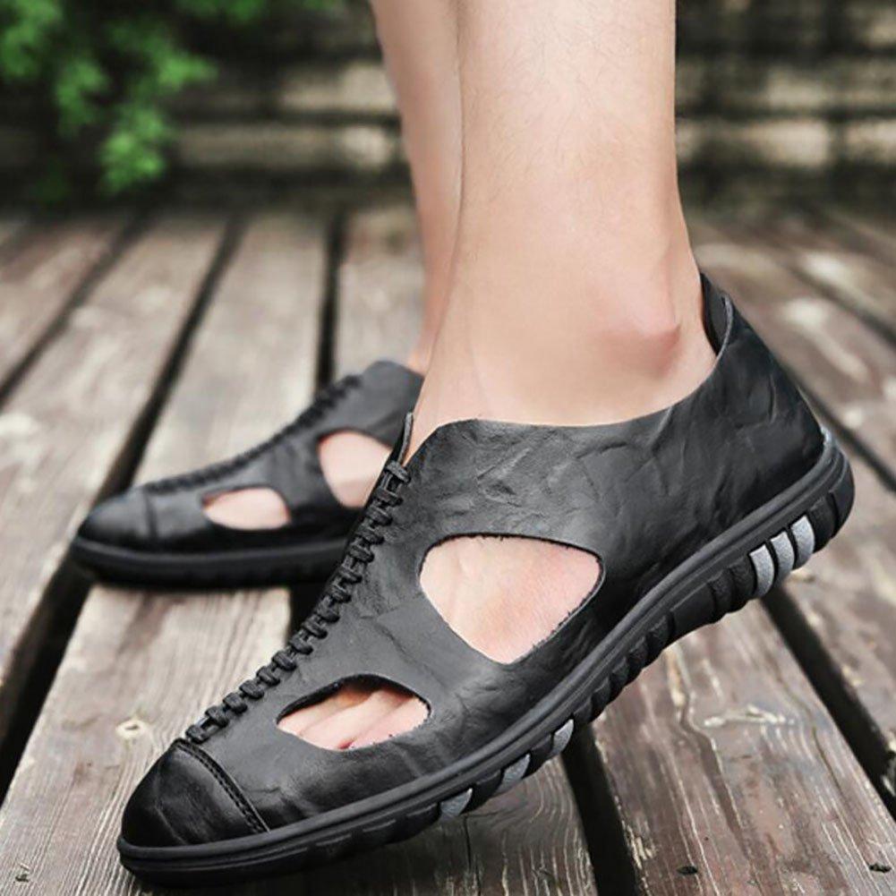 QSYUAN Men Es Es Es New Leisure Hundert-Spiel Loch Und Loch Schuhe Ein Fuß Pedal & Weich Und Komfortabel Atmungsaktive Rutschfeste Tragbare Leder Lazy schuhe & Dating,schwarz,41 48c7c2