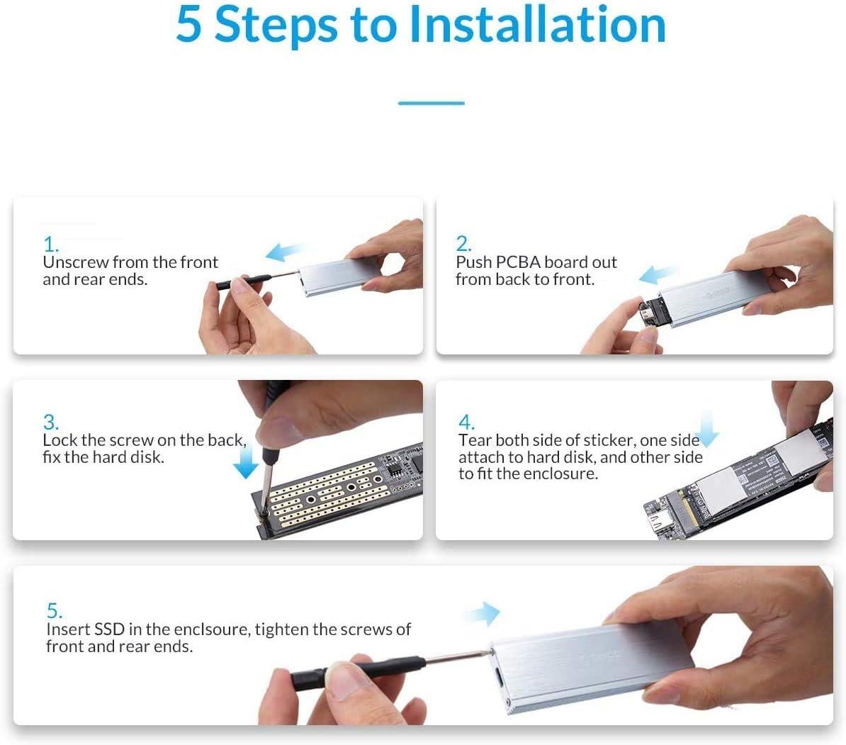 Funci/ón de sue/ño Inteligente ORICO Carcasa Externa SSD M.2 NVME Caja de Aluminio und Adaptador de PCIe a USB 3.1 para PCIe M-Key /& M+B Key NVME SSD 2230//2242//2260//2280 Plata Gen2, 10 Gbit//s