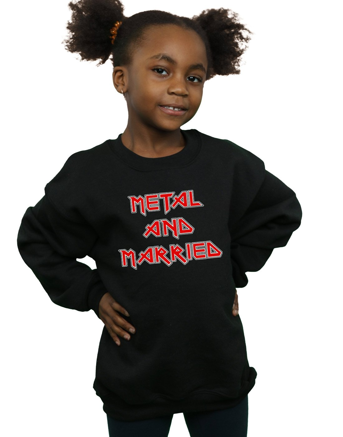 Absolute Cult Drewbacca Girls Metal and Married Sweatshirt Black 7-8 Years