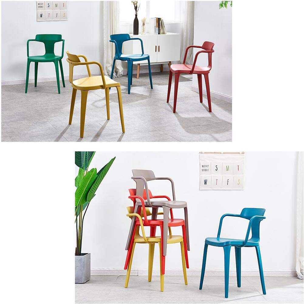 Alexzh-YZ Chair Nordic Style Easy Assembly Stackable Design Restaurant Study Room Seating & Chairs Color : Brownish gray
