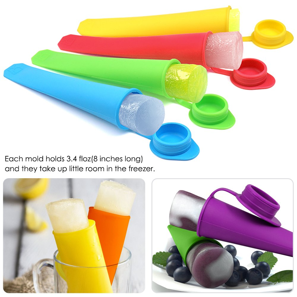 SENHAI 8 Packs Silicone Ice Pop Ice Cream Makers with Attached Lids Popsicle Molds with Collapsible Funnel Packed with 1 Green Foldable Funnel