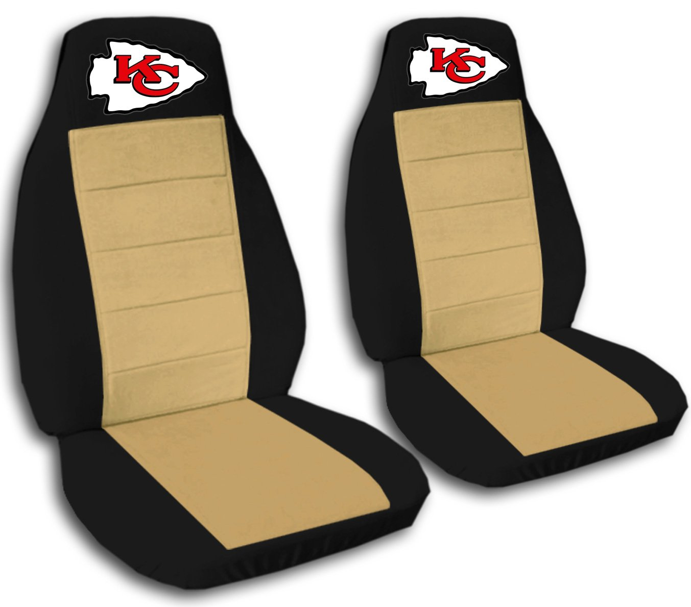 2 Black and Tan Kansas City seat covers for a 2007 to 2012 Chevrolet Silverado. Side airbag friendly. by Designcovers (Image #1)