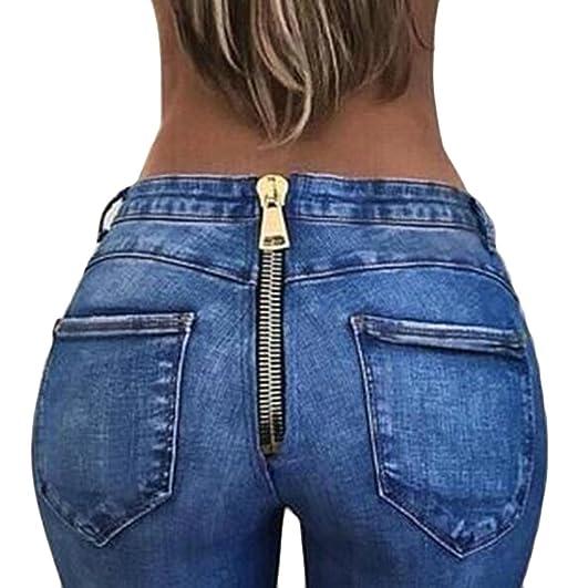 4984ea7a48 Jotebriyo Women s Sexy Jeans Back Zipper Skinny Fit Butt Lifting Pencil  Pants Dark Blue XS