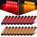 "Partsam 20x 3.8"" Amber/Red Clearance lights Truck Trailer RV Lorry Van Side Marker Indicators Decorative, Thin Line 3.8"" 6 LED Amber Trailer Marker Lights Parking Turn Signal Lights"