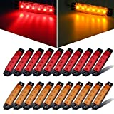 "Partsam 20x 3.8"" Amber/Red Clearance lights Truck Trailer RV Lorry Side Marker Indicators Decorative"