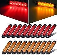 Partsam 20x 3.8 Amber/Red Lights Truck Trailer RV Lorry Side Marker Indicators Decorative