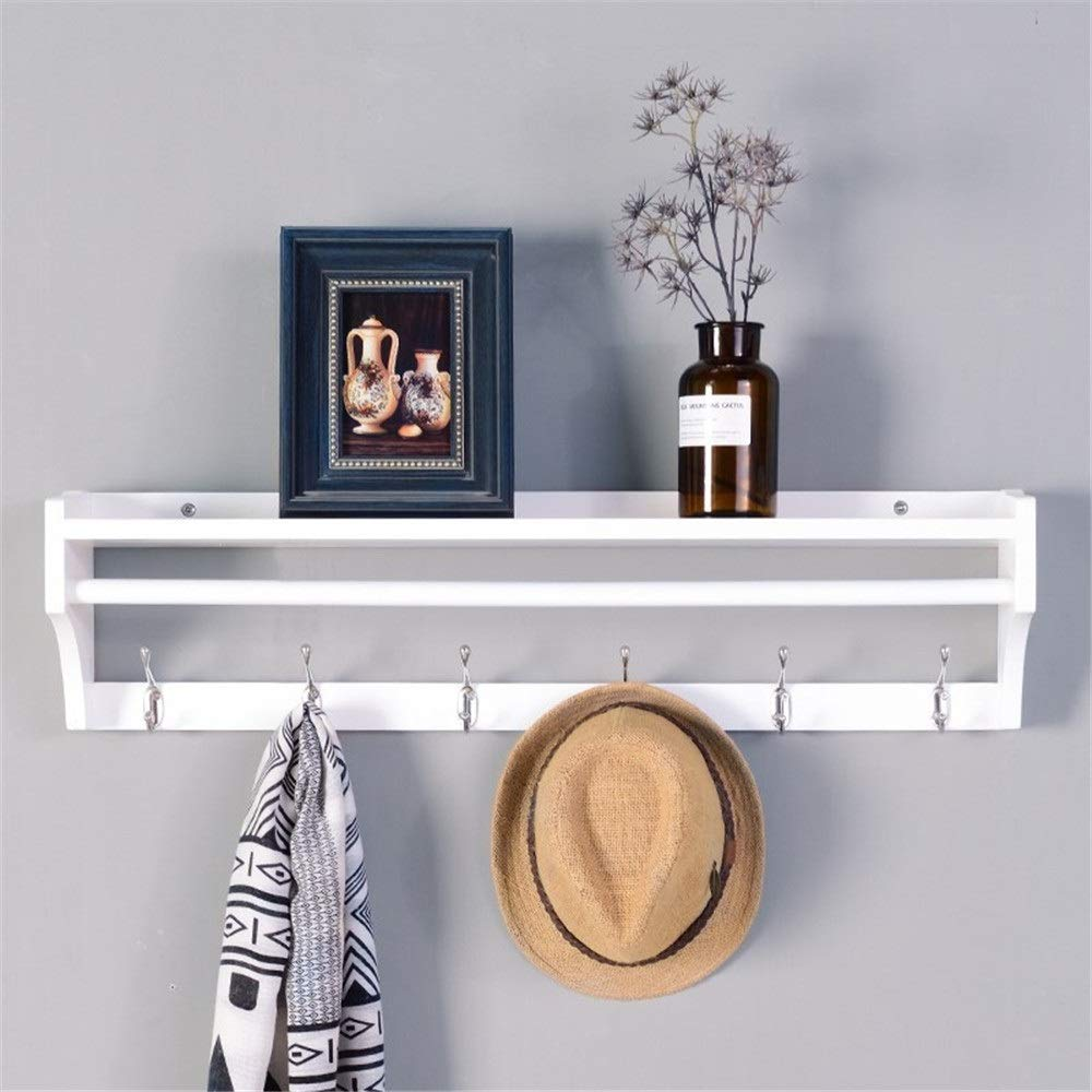スーツハンガー ハンガーコートラック壁掛け壁リビングルーム木製ラック多機能寝室ポーチエントランス洋服フック ジャケットハンガー (色 : 白) B07S1TKMH6 白