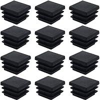 DXLing 40 Piezas Tapones de Plástico Negro 20 x 20m Cuadrados Alfombrilla Antideslizante Tapas de Tubo Cuadrado Tapón de…