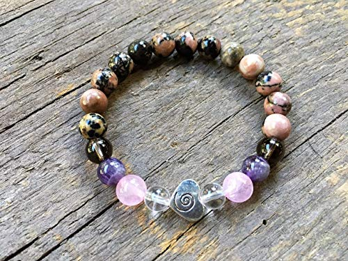 Breast Cancer Awareness Bracelet with Natural Gemstones for Hope, Positivity and Support