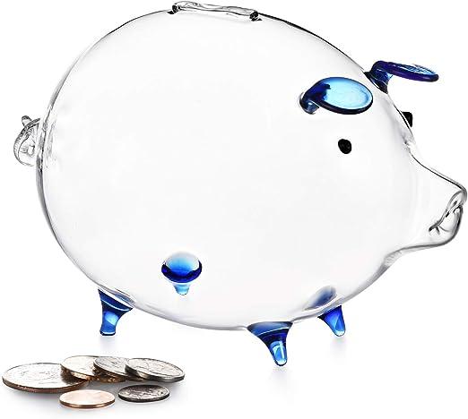 Clear Glass Cute Chubby Pig Piggy Bank Saving Money Coin Box Desk Decor Gift