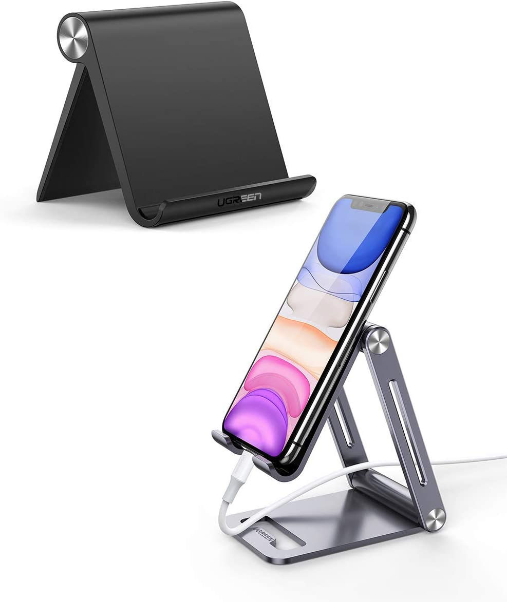 UGREEN Cell Phone Stand Holder with Aluminum Mobile Phone Dock Bundle Compatible for iPhone 11 Pro Max SE XS XR 8 Plus 6 7 5, Samsung Galaxy S20 S10 S9 S8 S7 S6 Android Smartphone