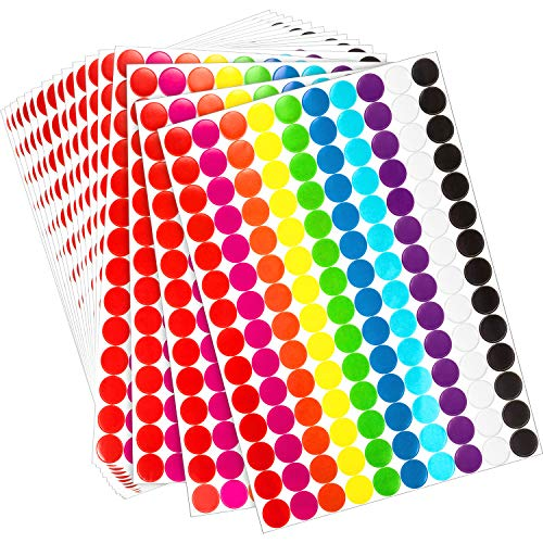 Boao Colored Round Dot Stickers Circle Dot Labels, Neon Colors Labels (2800 Pieces, 19 mm) -