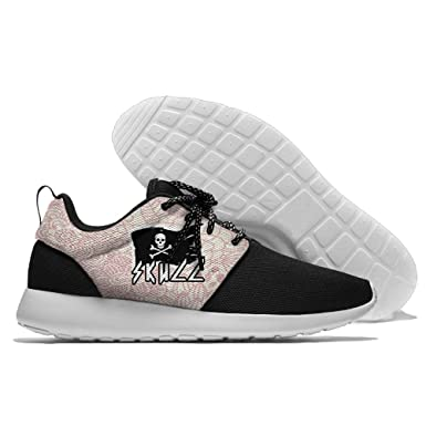 White Pirate Skull Men's Athletic Leisure Shoe Running Mesh Sneakers