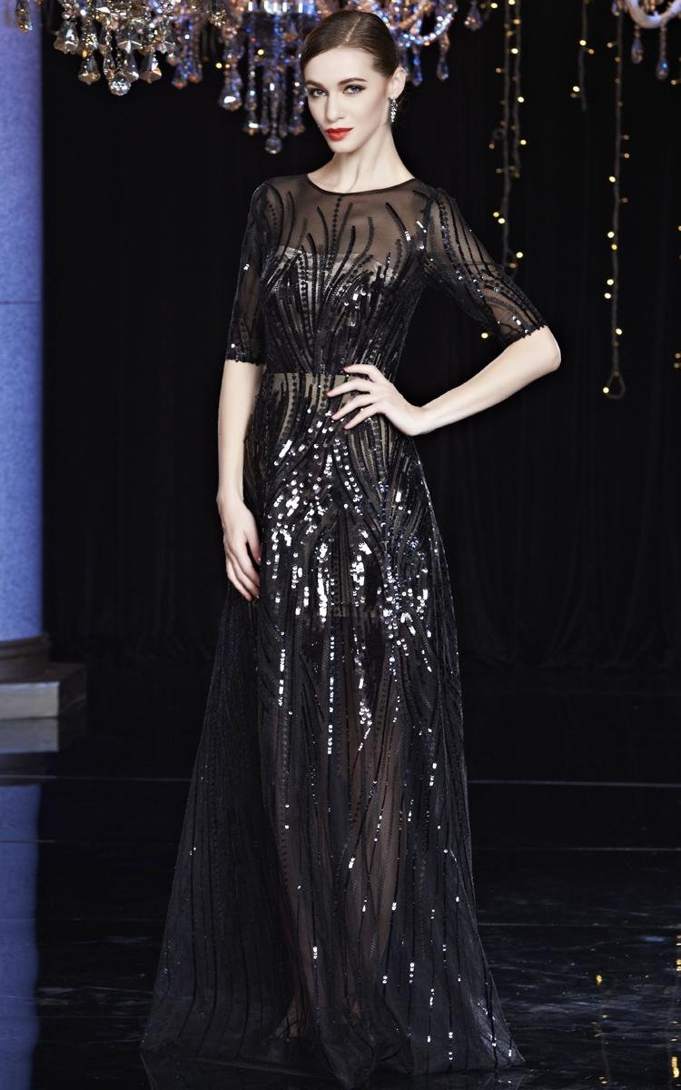 Beauty-Emily Maxi See-Through Sequin O Neck Half Sleeve Sash Zip Christmas Gifts Night Evening Dresses Color Black,Size 20W by Beauty-Emily (Image #3)