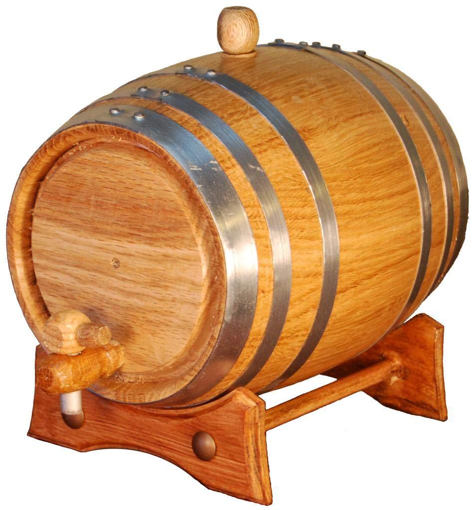 Barril de Madera de Roble Artesanal para a/ñejamiento de licores y Vino 2 litros