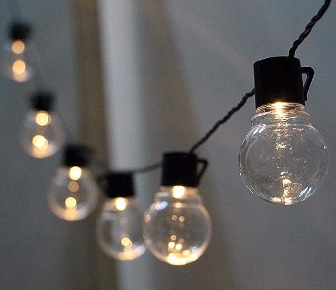 Bombilla de Jardín Solar Luces de Cadena, 20 LED 3M Luces de la Secuencia del Bulbo Impermeables con 2 Modos para la Navidad al Aire Libre del Jardín: Amazon.es: Iluminación