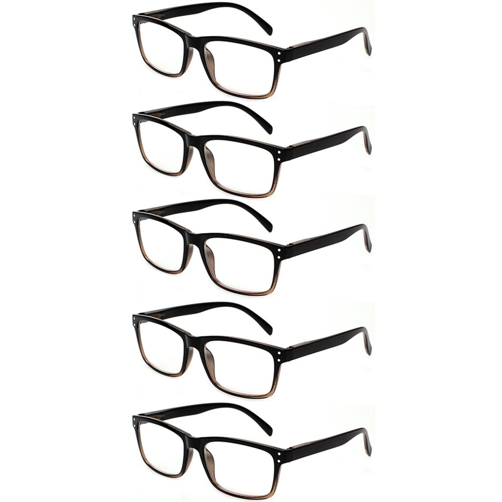 d8494fc287f 5 Pack Unisex Vintage Readers Spring Hinges Rectangular Reading Glasses  Includes Sun Readers 0.50)