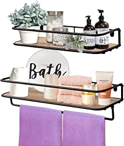 QEEIG Floating Shelves Bathroom Farmhouse Wall Mounted Shelf with Towel Bar Kitchen Shelve Rustic Shelfs Set of 2 (Brown)