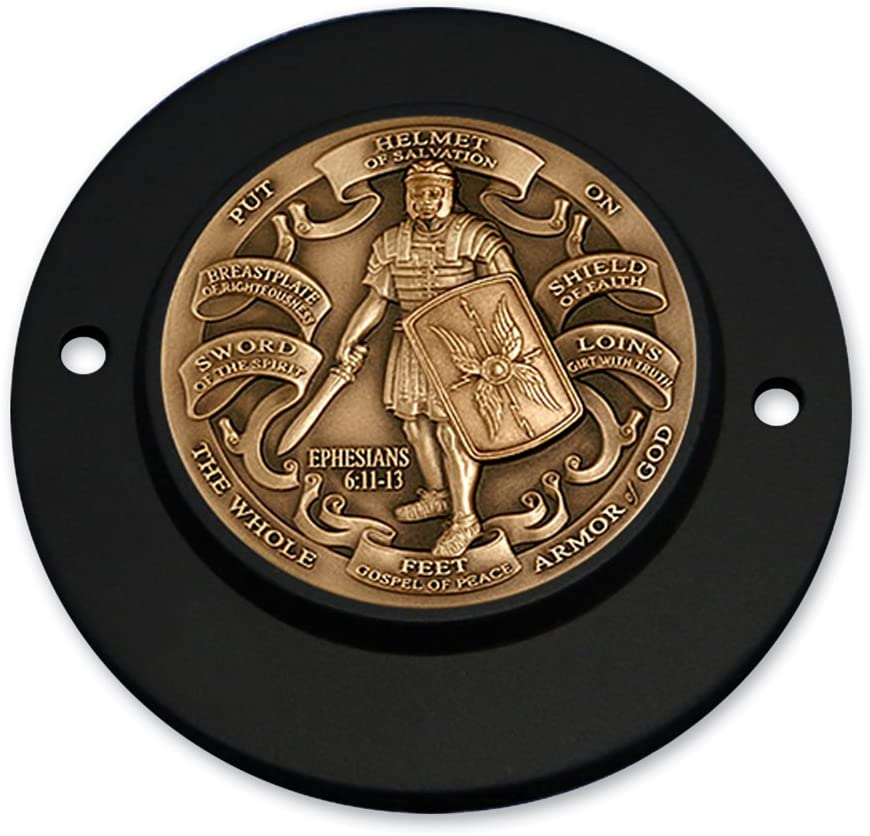 MotorDog69 Armor Of God Brass Harley Black 2-Hole Timing Cover Coin Mount Set for Sportster Evo /& S/&S Engines