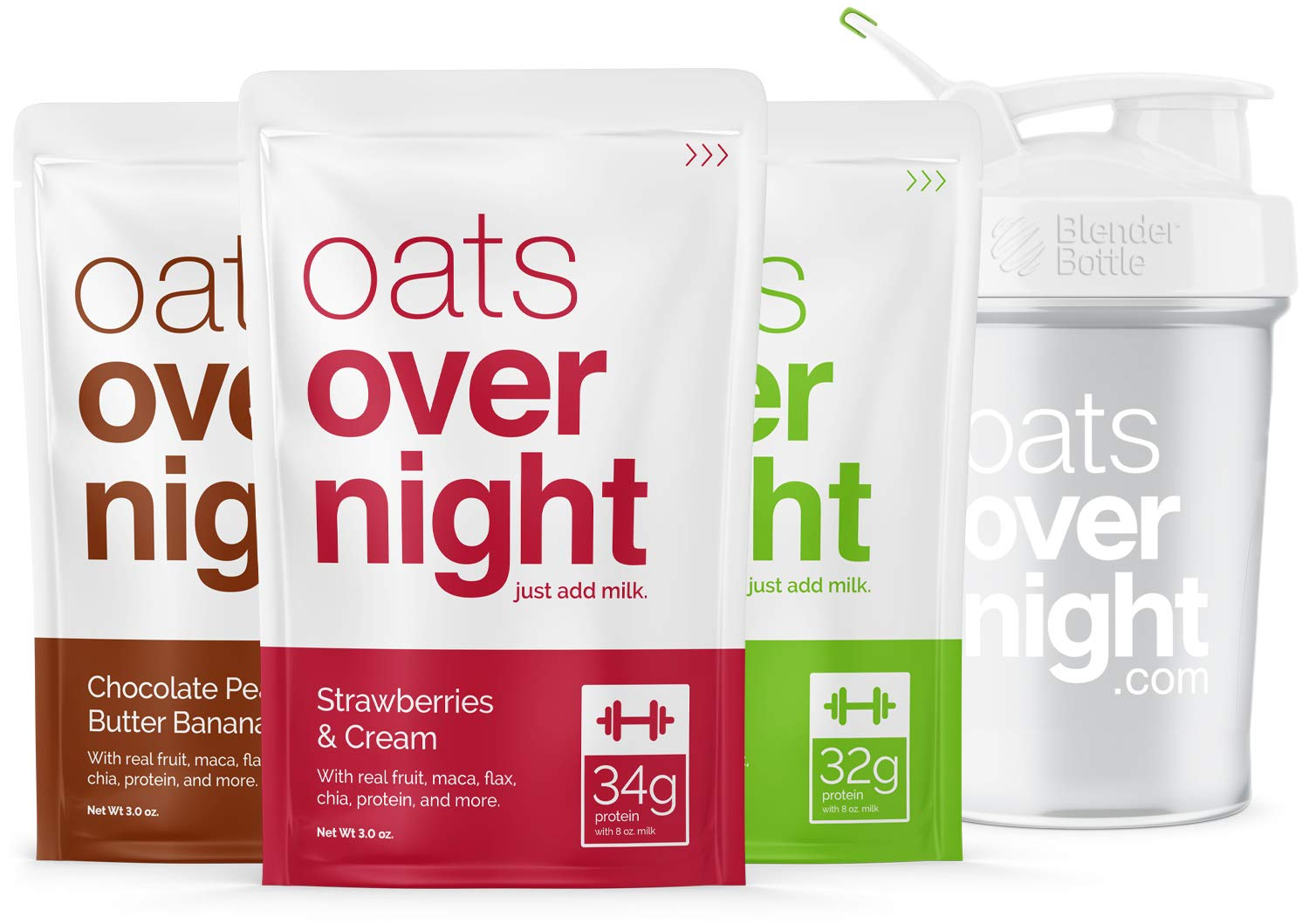 Oats Overnight - Premium High-Protein, Low-Sugar, Gluten-Free (3oz per pack) (12 Pack Variety with BlenderBottle) by Oats Overnight