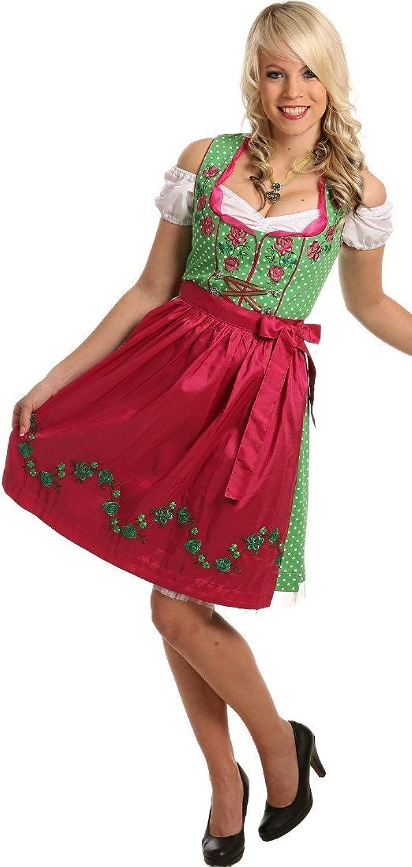 Kesses Mini-Dirndl Wiesn Dirndl KLARA in knackigen Farbkombinationen, 2tlg. 50 cm, Größen:36;Farben:grün/pink