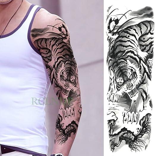 Etiqueta engomada del tatuaje impermeable Brazo completo masculino ...