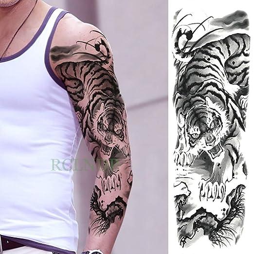 3pcs Impermeable Etiqueta engomada del Tatuaje Temporal Tigre Loto ...