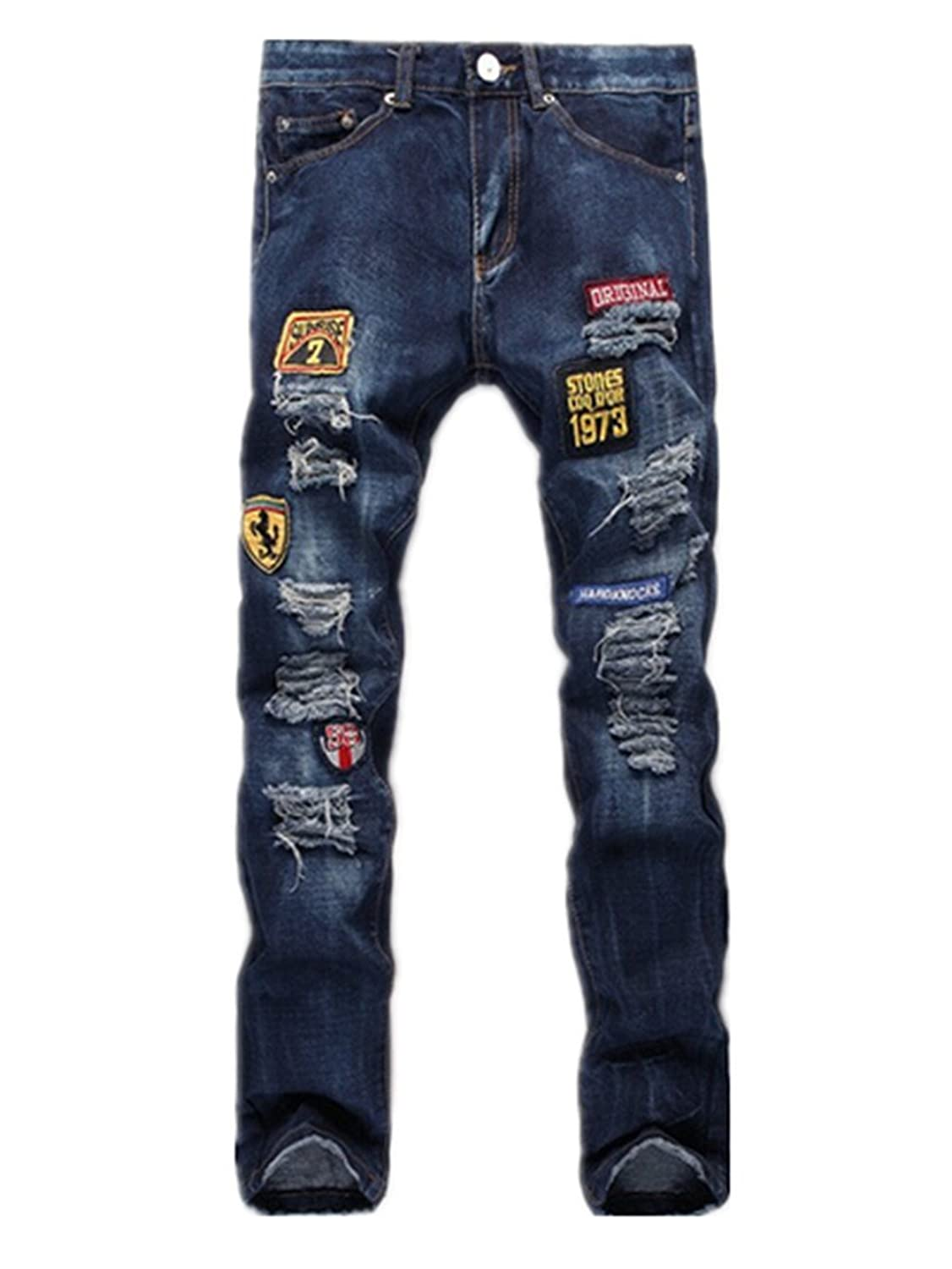 Mens Washed Slim Destroyed Denim Pant Distressed Ripped Skinny Jeans