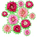 Gejoy 12 Pieces Pink Paper Flower DIY Crafting Kit Wall Decor Tissue Paper Flowers for Princess Birthday Party Decoration