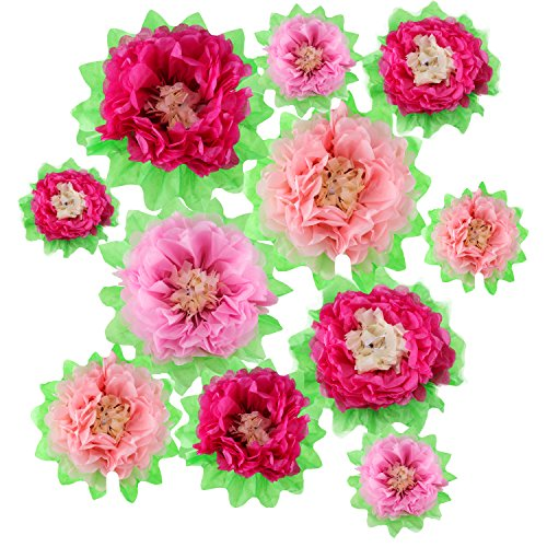 Gejoy 12 Pieces Pink Paper Flower DIY Crafting Kit Wall Decor Tissue Paper Flowers for Princess Birthday Party Decoration -