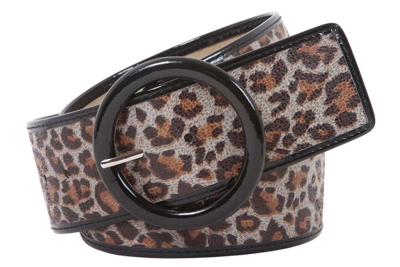 "Women's 2 1/4"" Wide High Waist Leopard Print Patent Leather Round Belt"