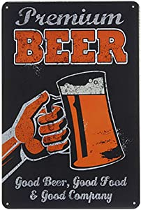 Ryantey Metal Tin Sign Retro Vintage Good Beer Good Food Aluminum Sign for Home and Bar Wall Decor 8x12 Inch