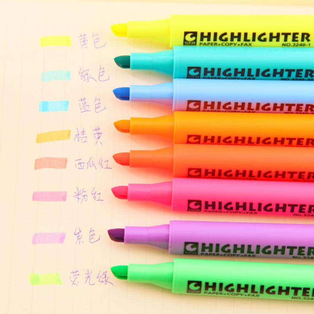 40 pcs/Lot Fluorecent Marker pen for paper copy fax Highlighter material escolar canetas office Stationary supplies