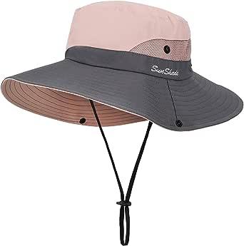 MengH-SHOP Solhatt dam, solhattar, brett brätte, UV-skyddad fiskehatt, nät, strand, solhatt, vikbar solhatt för trädgårdsarbete, resor, vandring, fiske, 56–58 cm (rosa)