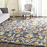 Safavieh Blossom Collection BLM402A Handmade Navy and Multi Premium Wool Area Rug (5′ x 8′) For Sale