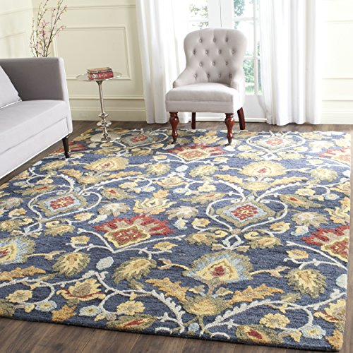 Safavieh Blossom Collection BLM402A Handmade Navy and Multi Premium Wool Area Rug (4' x 6')