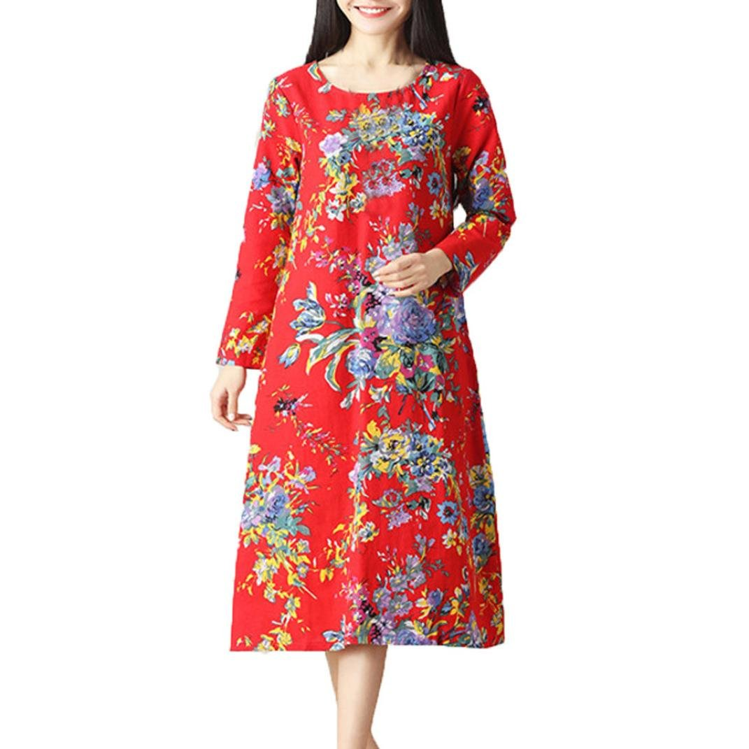 Women Vintage Dress, Fall Long Sleeve Retro Floral National Style Loose Round Neck Cothing