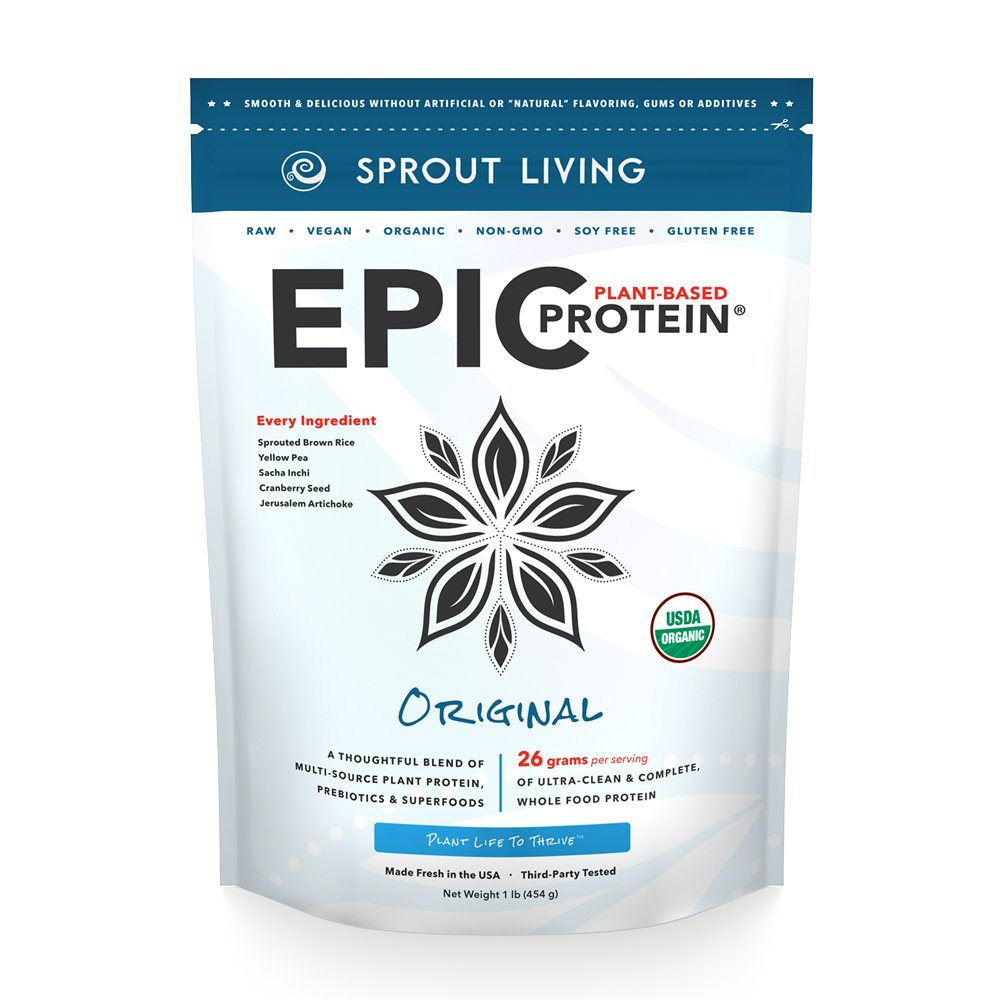 Sprout Living Epic Protein Powder, Original Unflavored, Organic Plant Protein, No Additives, Gluten Free, 26 Grams Clean Vegan Protein (1 pound,14 servings)
