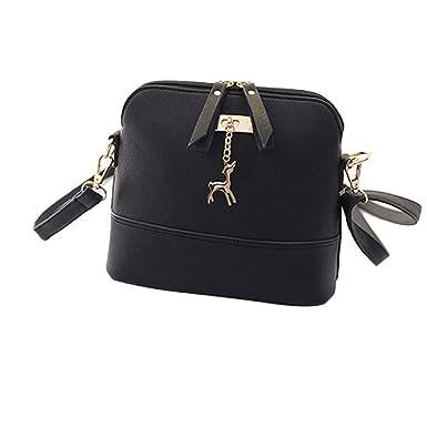 6874916f9d Generic Women Vintage PU Leather Shoulder Bags Shell Model Handbag (25 10  19cm) (Black )  Amazon.co.uk  Clothing